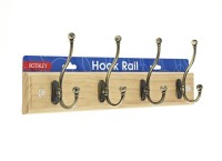 Traditional Coat Hook Rail - 4 Antique Hooks